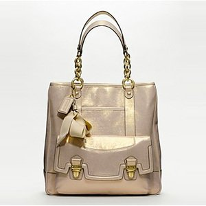 Amazon.com: Coach Poppy Pushlock Leather North South Tote 17924: Clothing