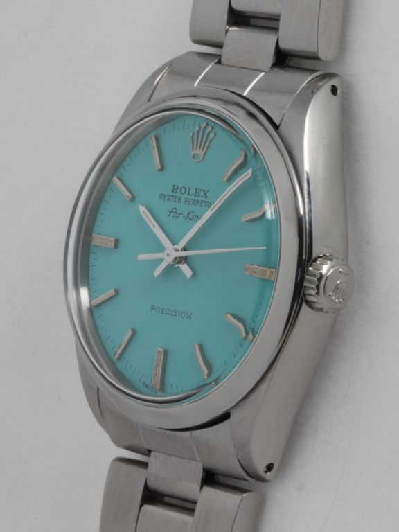 Rolex Stainless Steel Airking Wristwatch, circa 1986 with custom color dial at 1stdibs