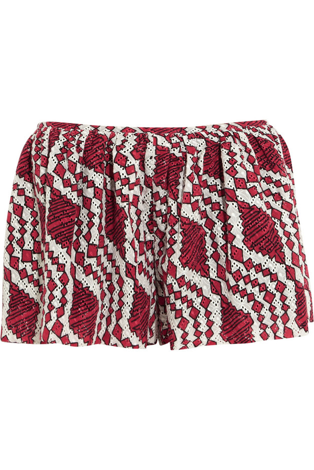 Thakoon Addition|Printed broderie anglaise cotton shorts|NET-A-PORTER.COM
