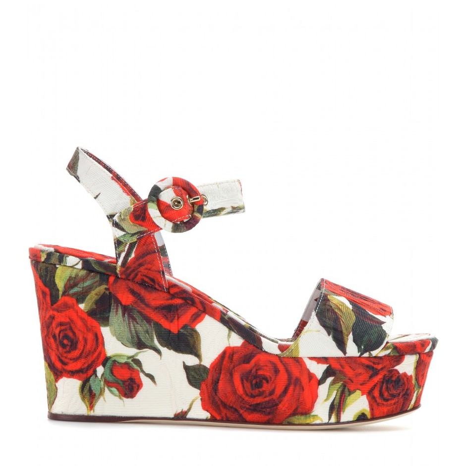 mytheresa.com - Bianca printed brocade wedge sandals - High-heel - Sandals - Shoes - Dolce & Gabbana - Luxury Fashion for Women / Designer clothing, shoes, bags