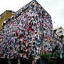 clothes covered building - marks & spencer shwopping campaign