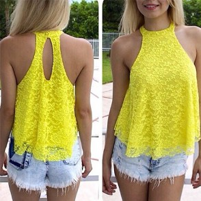 Fashion Halter-style Hollow Out Lace Tops - Shirt & Tops - Clothing