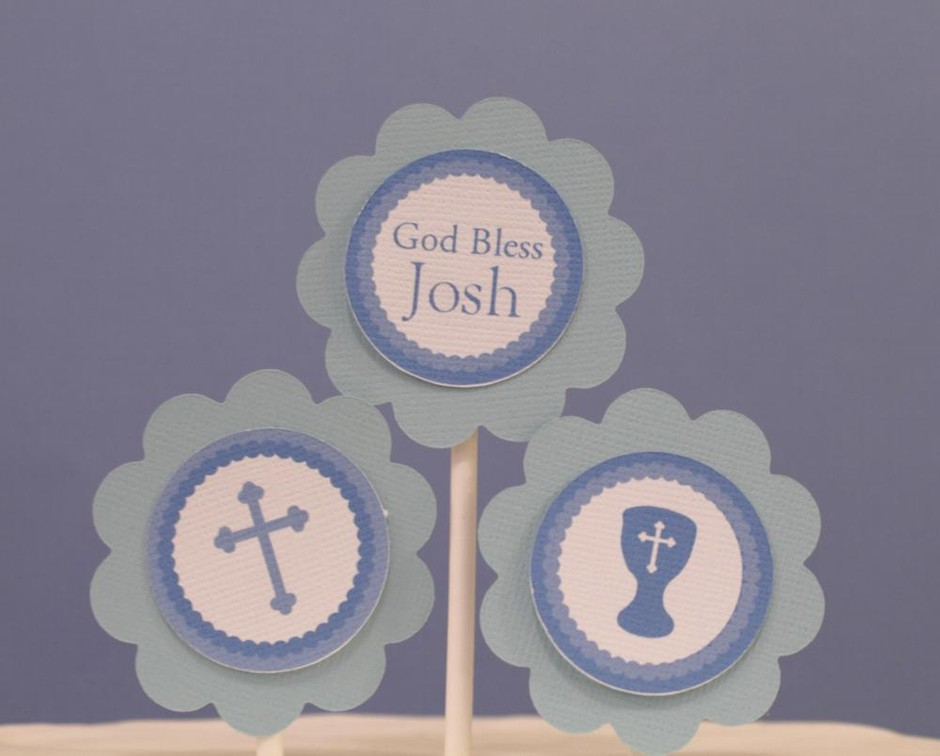 God Bless Blue Cross Cupcake Toppers on Luulla