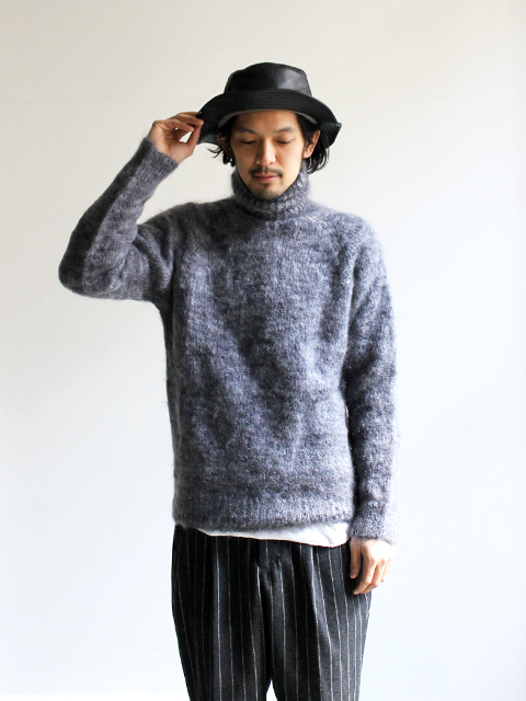 OLD DERBY KNITWEAR オールドダービー L/S PLAIN POLO PULL OVER モヘアニット
