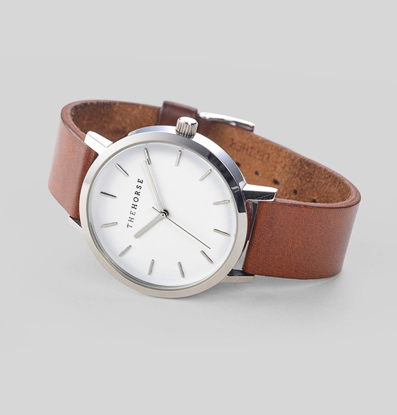 Polished Steel / White Face / Tan Leather   The Horse