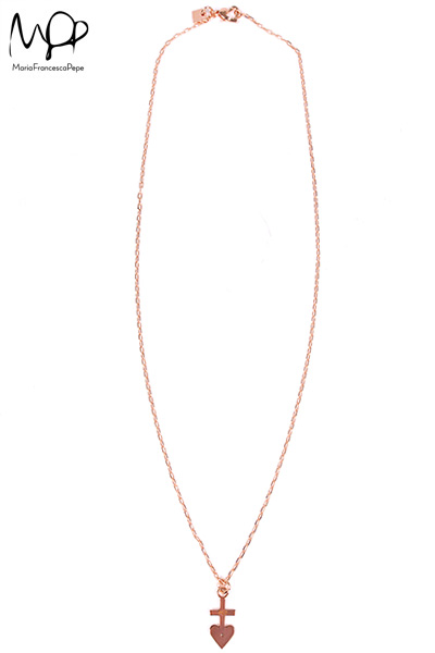【Maria Francesca Pepe】THIN CHAIN WITH HEART-CROSS CHARM AND SWAR DETAIL | LADY'S | ACCESSORY | FAKE TOKYO.com