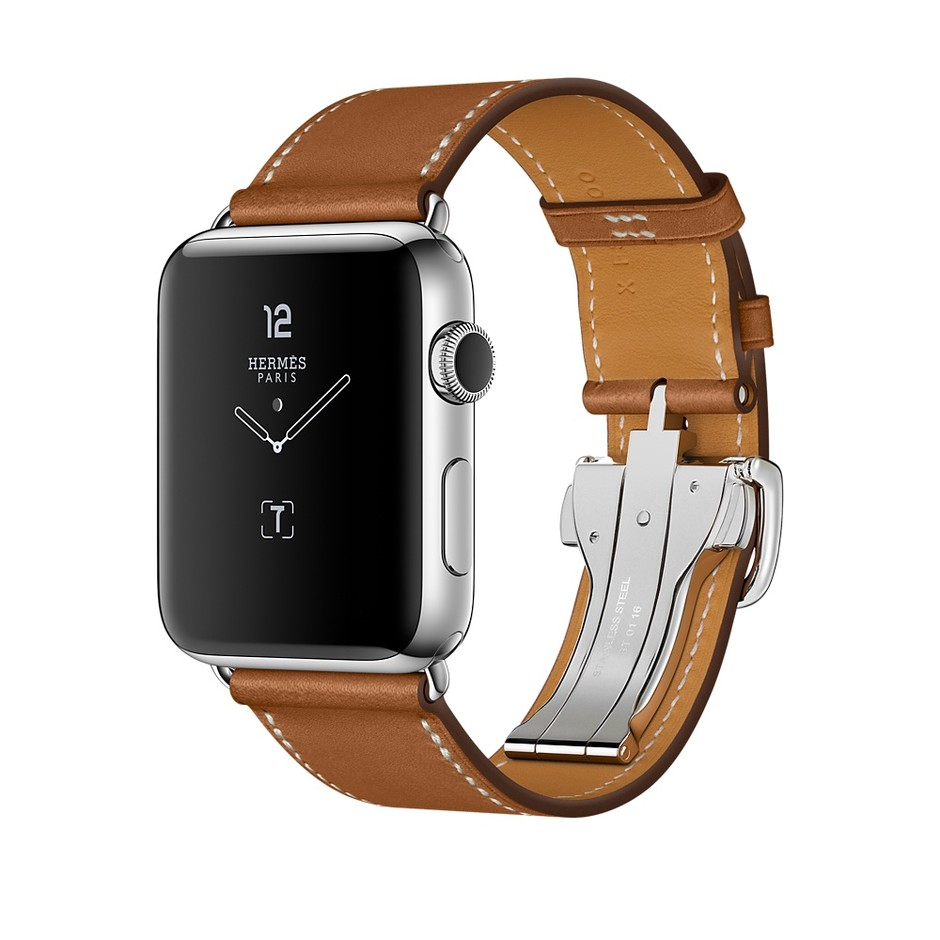 Apple Watch Hermès, 42mm Stainless Steel Case with Fauve Barenia Single Tour Deployment Leather Band - Apple