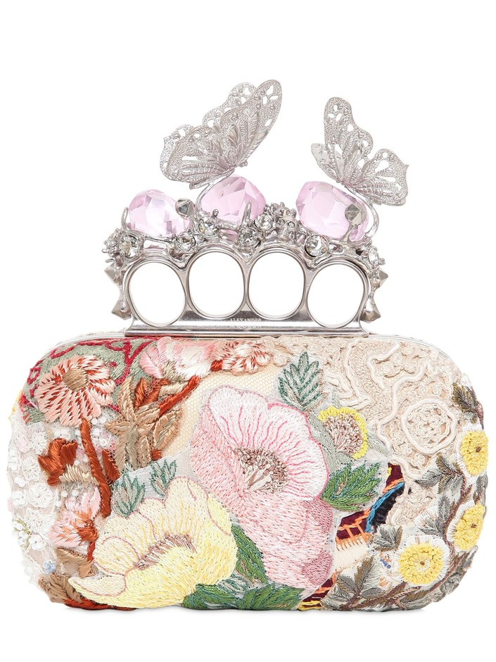 ALEXANDER MCQUEEN - EMBROIDERED BUTTERFLY KNUCKLEBOX CLUTCH - LUISAVIAROMA - LUXURY SHOPPING WORLDWIDE SHIPPING - FLORENCE
