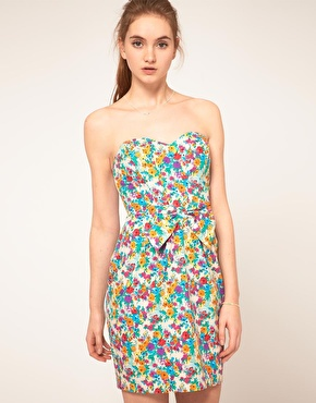 ASOS | ASOS Strapless Dress In Floral Print at ASOS