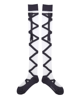 Candy Stripper ONLINE SHOP | LACE UP SEE THROUGH KNEE HIGH SOCKS | CHARCOAL