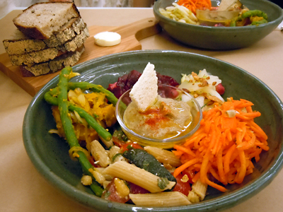 Plate of vegetables and Organic ginger tea: Bread Journal