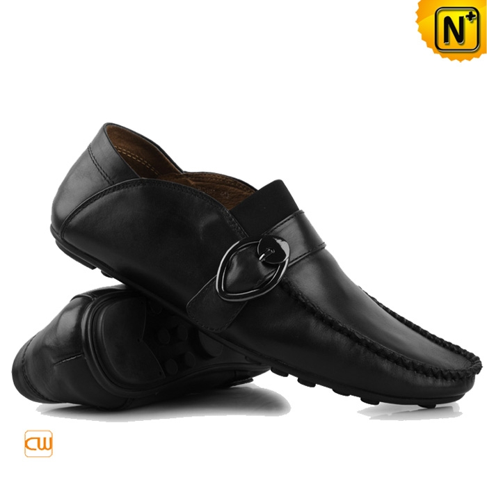 Mens Black Brown Leather Driving Shoes Casual Moccasin Loafer Flat | CWMALLS