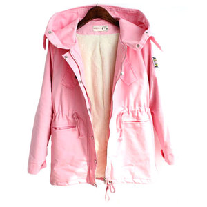 lulula-fashion shopping mall — [ghyxh3600837]Simple Leisure Pure Color Hood Warm Trench Coat