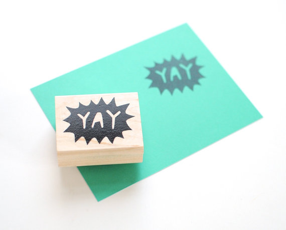 Rubber Stamp // Yay Hand Lettered Negative Space by EmDashPaperCo