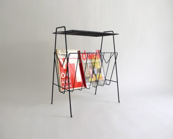 RESERVED for tammyhui Black Metal Magazine Rack by Hindsvik