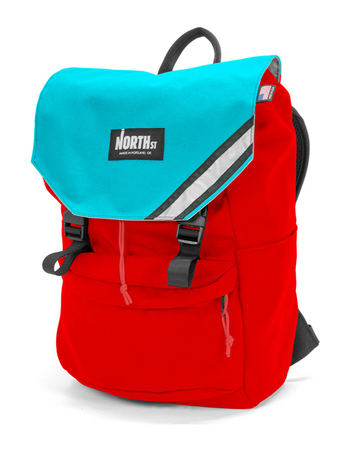 Belmont Backpack - Red & Teal - North St. Bags