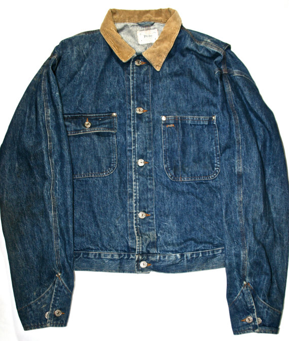 Vintage Polo Ralph Lauren Denim Jacket Made in by VintageMensGoods