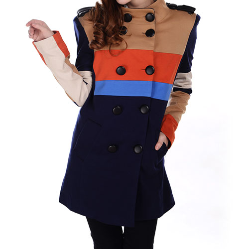 lulula-fashion shopping mall — [ghyxh3600819]British Style Cool Mixing Color Double Breast Stand Collar Trench Coat