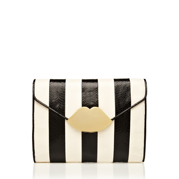 Black and White Stripe Snakeskin Small Envelope Clutch Clutches from handbag and accessory designer Lulu Guinness