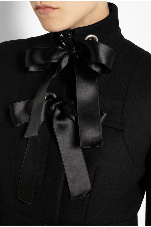ALEXANDER MCQUEEN - WOOL FELT COAT WITH SATIN RIBBONS - LUISAVIAROMA - LUXURY SHOPPING WORLDWIDE SHIPPING - FLORENCE