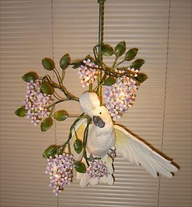 Life Sized Moluccan Cockatoo on Wisteria An Accent Lamp | eBay