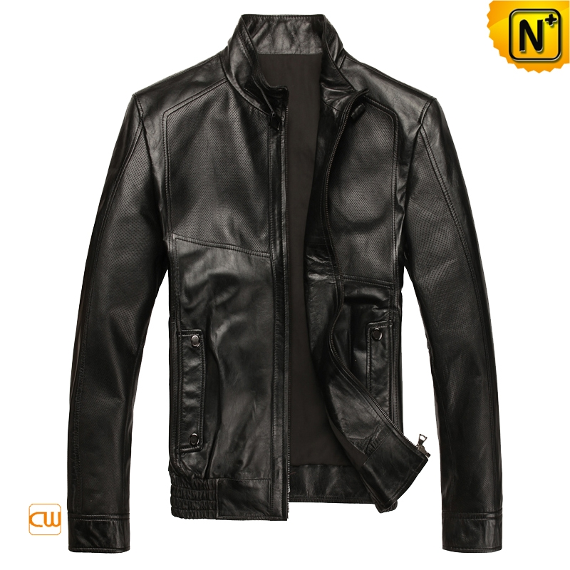 Mens Black Slim Fit Leather Motorcycle Jackets CW812096 | CWMALLS