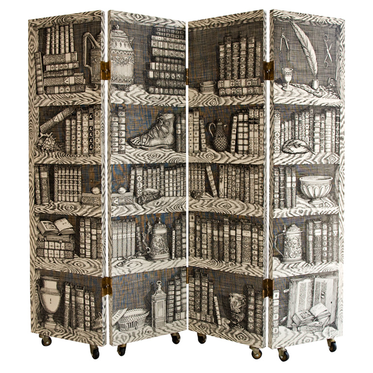 """Four Panel """"Library"""" Trompe L'Oeil Folding Screen by Fornasetti"""