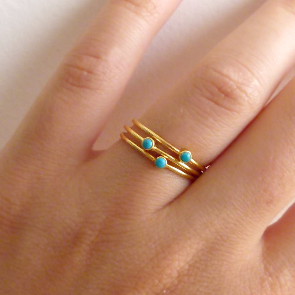 Thin Turquoise Rings Stacking Rings Set of Three by artemer