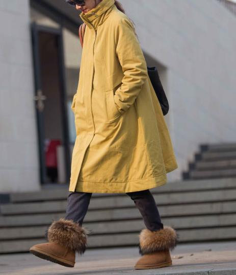 yellow winter padded overcoat by MaLieb on Etsy