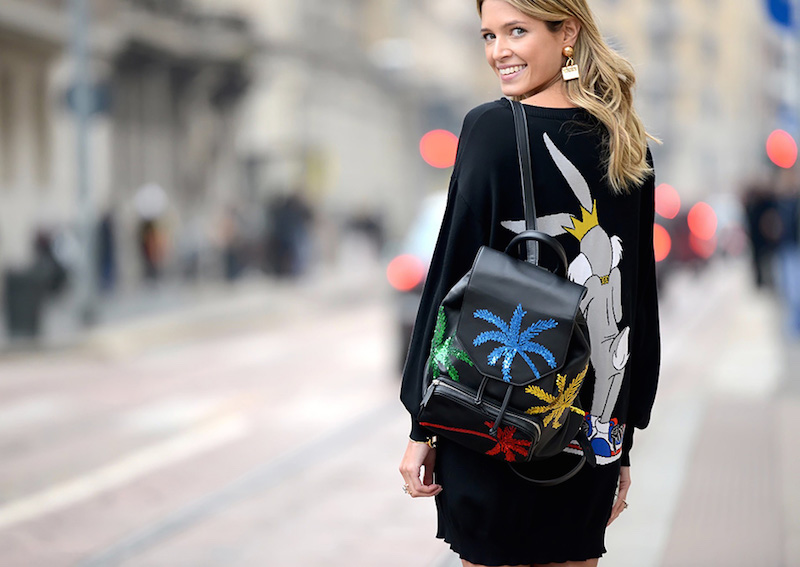 #MFW Street Style // Les Petits Joueurs Freddy Palms Sequined Leather Backpack – NAWO
