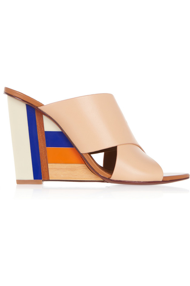Tory Burch|Color Cube leather and acrylic wedge sandals|NET-A-PORTER.COM