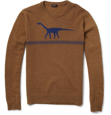 Jil Sander Dinosaur Intarsia Camel and Wool-Blend Sweater | MR PORTER