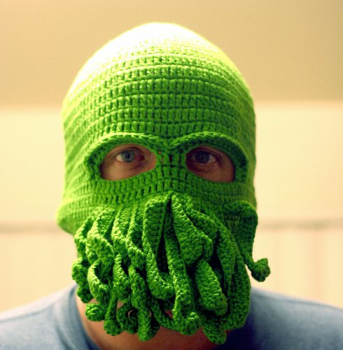Amazon.com: Handmade Cthulhu Ski Mask made with 20% egg protein yarn - fits Teen or Adult female: Everything Else