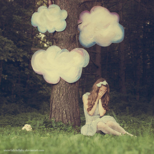 cloud, cute, forest, girl, tree - inspiring picture on Favim.com
