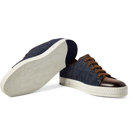Berluti - Playfield Denim and Polished-Leather Sneakers