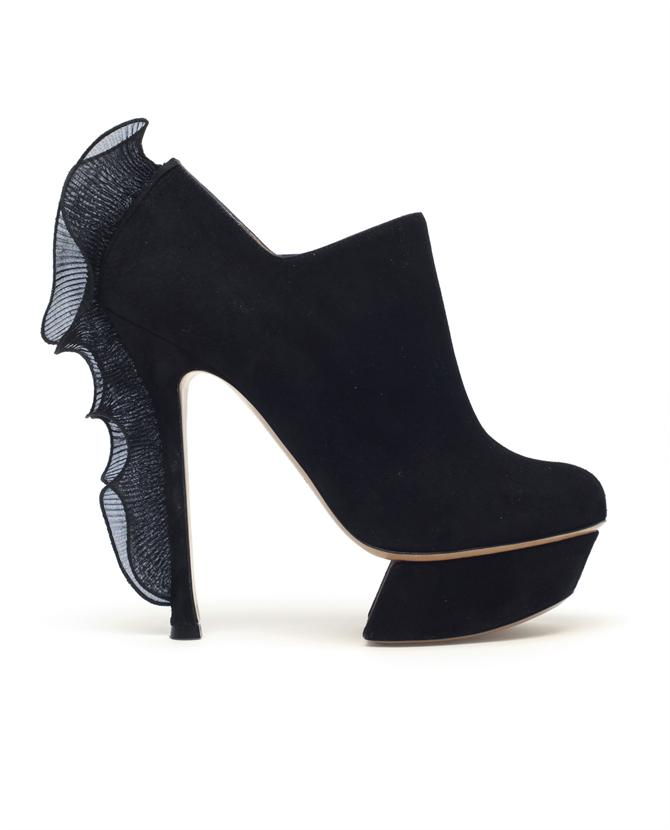 Browns fashion & designer clothes & clothing | NICHOLAS KIRKWOOD | Suede Shoe-boots with Pleated Frill