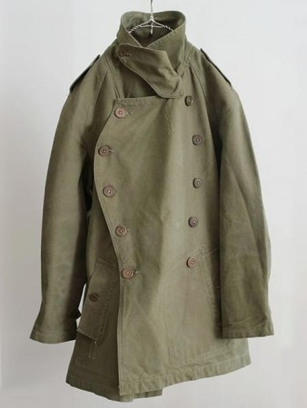1940's vintage french military mortorcycle coat