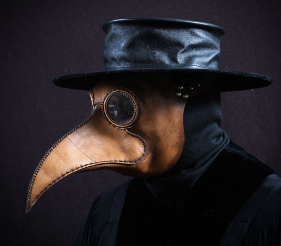 Plague Doctor's mask Maximus in brownish tan leather by TomBanwell
