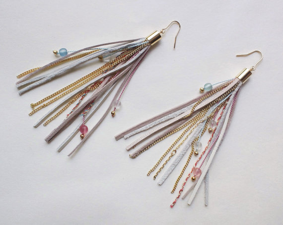Fringe earrings with leather silk strings chain & beads by QUOLIAL