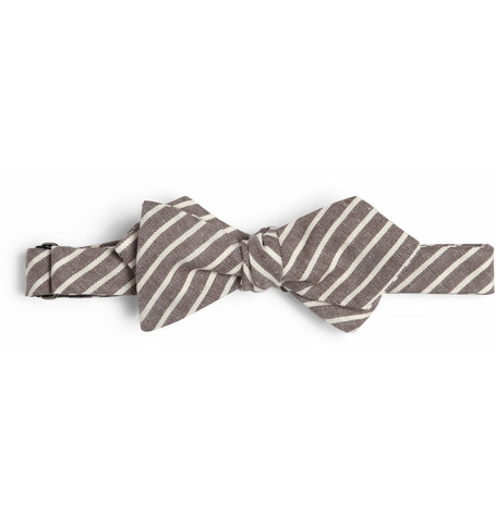 Alexander OlchStriped Cotton-Chambray Bow Tie|MR PORTER