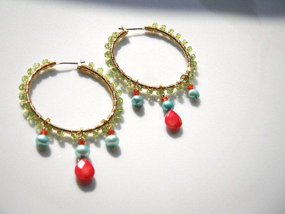 Japanese Jewelry Designer/ Dangling Hoop Earrings by OstaraTokyo