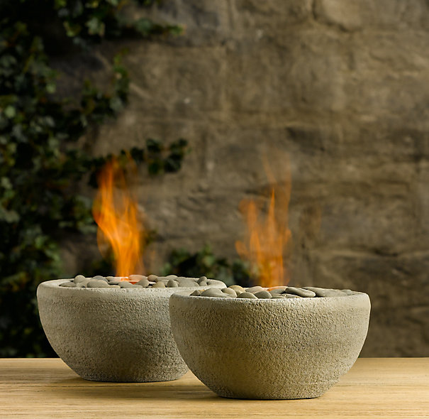River Rock Fire Bowl Tabletop | Fire Tables & Columns | Restoration Hardware