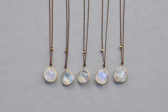 Enclosed Free Form Rainbow Moonstone Necklace (Margaret Solow) - SOURCE objects