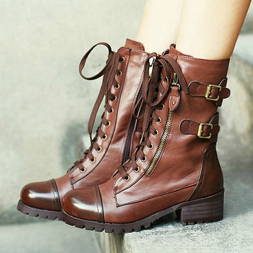 [grxjy5190156]Retro Lace-up Strap Buckle British Motorcycle Boots / brashycouture