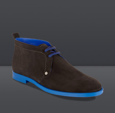 Jimmy Choo | Dunraven | Brown Suede with Blue Sole Chukka Desert Boots | JIMMYCHOO.COM