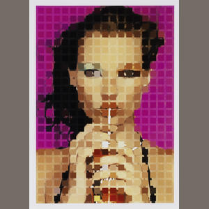 Bonhams 1793 : Sarah Morris (American/British, born 1967) Kate Moss Digital photograph in colours, 2000, on smooth wove, initialed in black ball-point pen and numbered 21/100 verso, 334 x 235mm (13 1/4 x 9 1/4in)(SH) unframed
