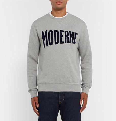 Hartford - Flocked Mélange Fleece-Back Cotton-Jersey Sweatshirt
