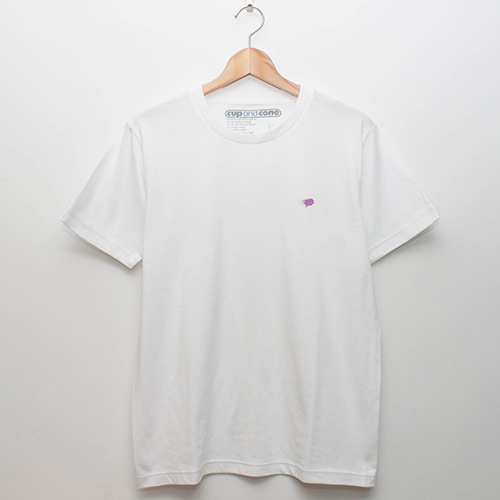 Embroidery Tee - White x Grape - cup and cone WEB STORE