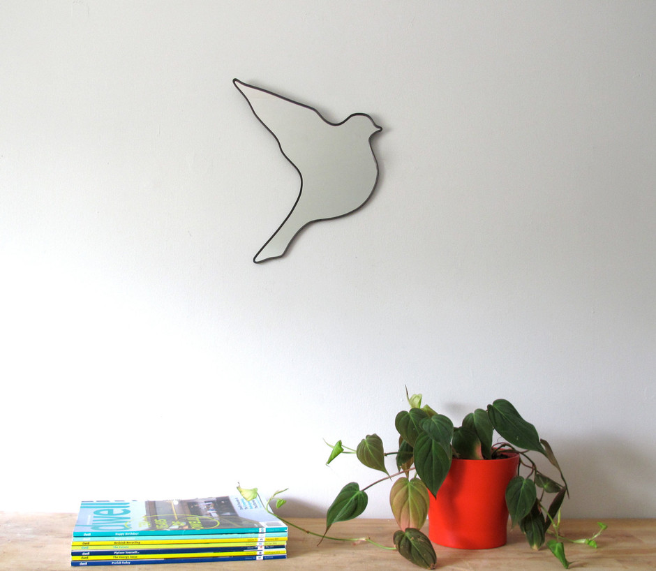 Flying Bird Wall Mirror Right Facing by fluxglass on Etsy