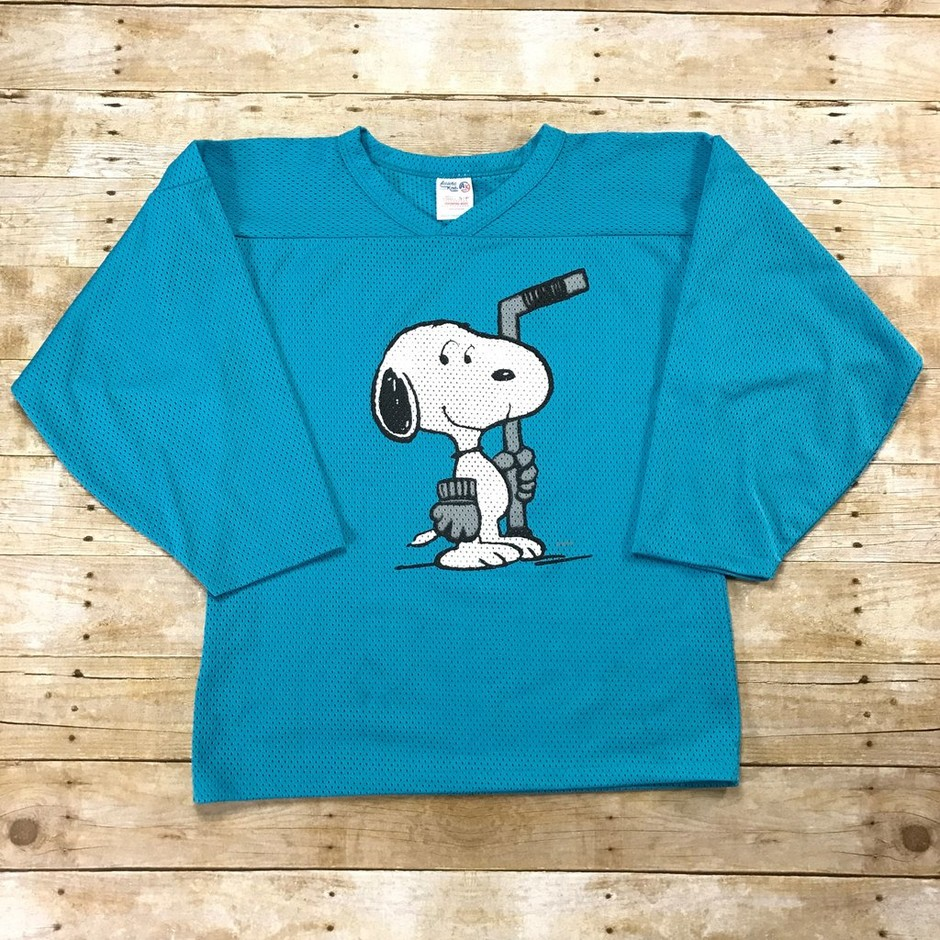 Vintage 90s Snoopy Hockey Sweater Teal Jersey Made in Canada Sz Small | Vintage Mens Goods